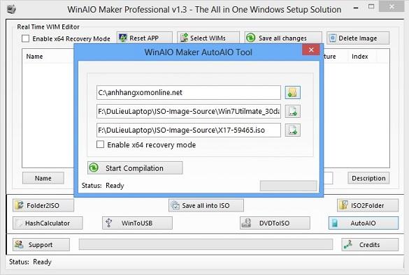 WinAIO Maker Professional - Tạo đĩa cài đặt Win7 tất cả trong một
