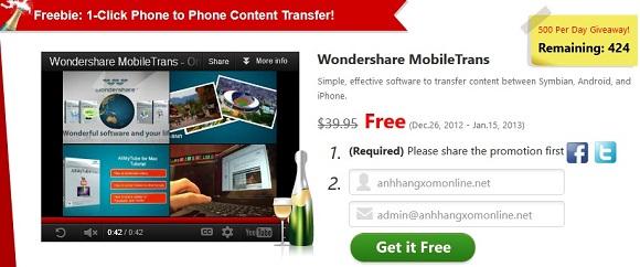 Wondershare MobileTrans - Nhận key bản quyền miễn phí phần mềm chuyển dữ liệu từ điện thoại cũ sang điện thoại mới