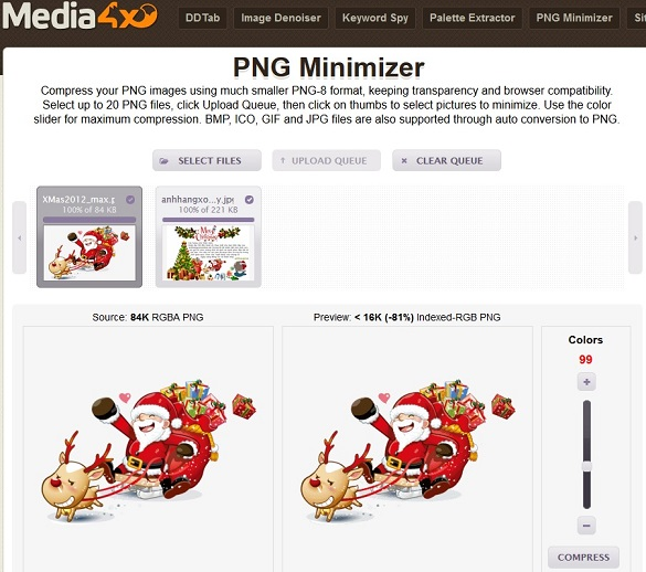 Giảm dung lượng hình PNG với dịch vụ PNG-Minimizer