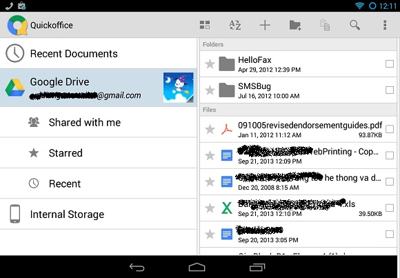 QuickOffice miễn phí cho Android và iOS + 25GB dung lượng miễn phí cho Google Drive