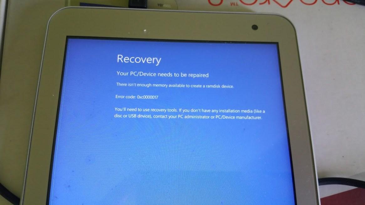 Toshiba Encore 2 Windows 10 Update error