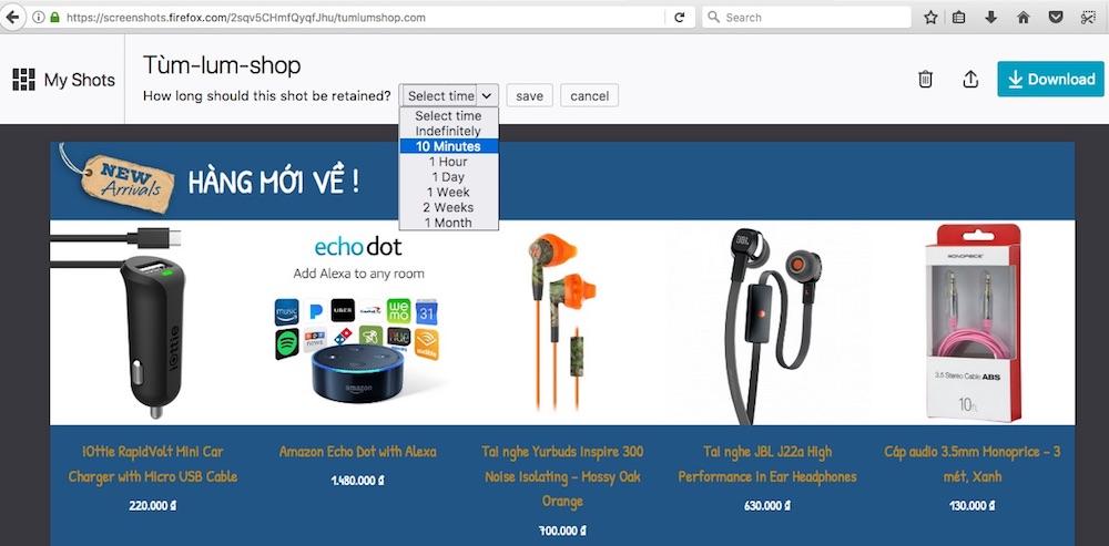 Chụp ảnh màn hình với Firefox-Screenshots