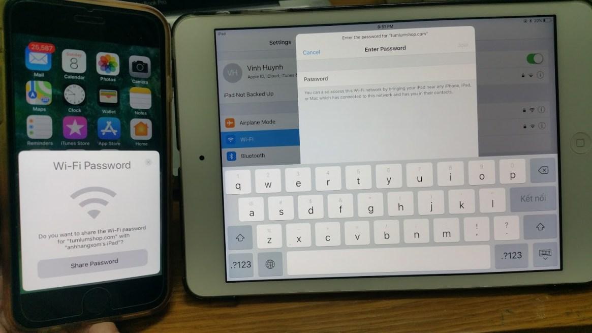 Chia sẻ mật khẩu Wifi giữa các thiết bị chạy iOS 11