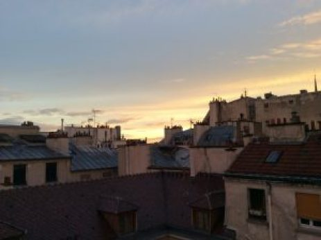 Sunset view from my window, spire of Notre Dame far right