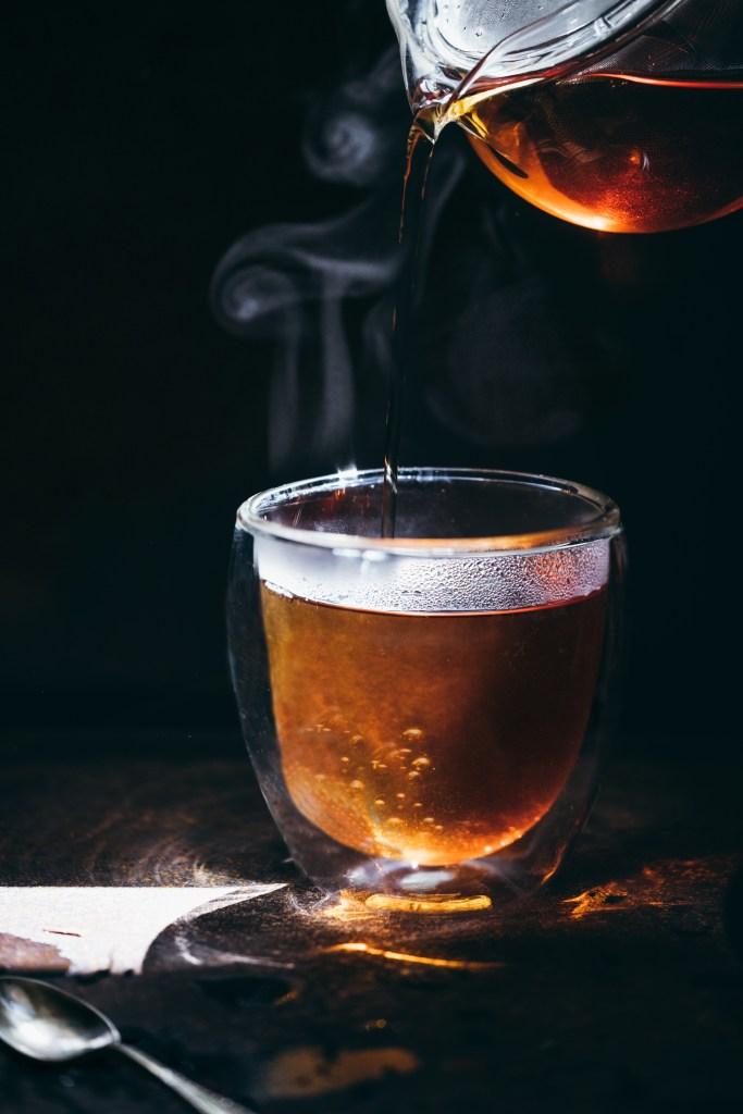 Hot tea, steam