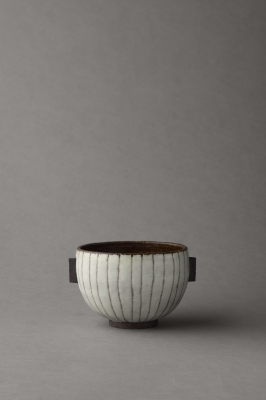 stripy black and white small bowl