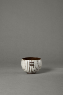 stripy black and white small bowl
