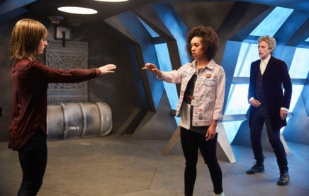 Programme Name: Doctor Who S10 - TX: 15/04/2017 - Episode: n/a (No. 1) - Picture Shows: Heather (STEPHANIE HYAM), Bill (PEARL MACKIE), Doctor Who (PETER CAPALDI) - (C) BBC - Photographer: Simon Ridgway