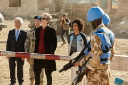 Doctor Who S10 - TX: 27/05/2017 - Episode: The Pyramid At The end Of The World (No. 7) - Picture Shows: Secretary General (TOGO IGAWA), The Commander (NIGEL HASTINGS), The Doctor (PETER CAPALDI), Bill (PEARL MACKIE) - (C) BBC/BBC Worldwide - Photographer: Simon Ridgway