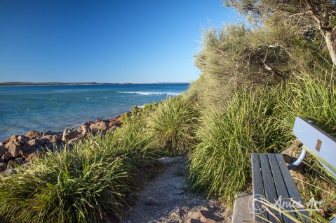 Viewing seat at Narrawallee Inlet's channel