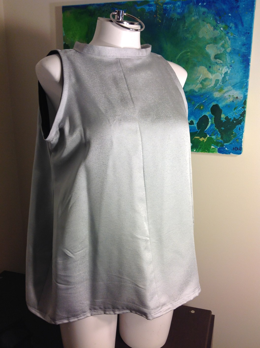 Silver silk blouse sleeveless