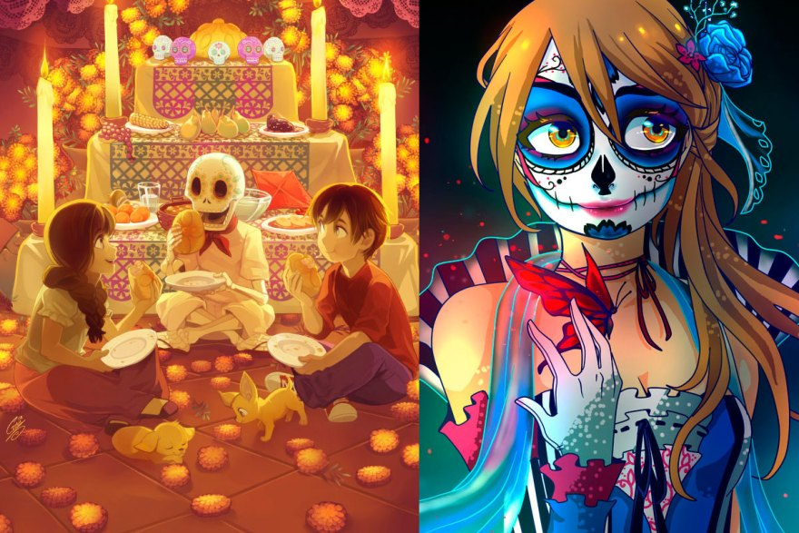 anime-videojuegos-dia-de-muertos