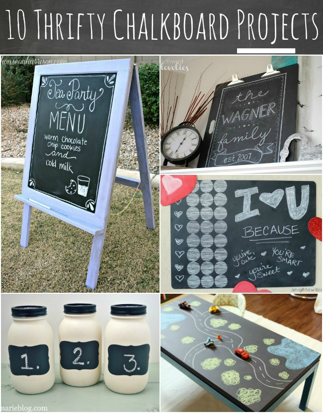 10 Thrifty Chalkboard Projects at { anightowlblog.com } #thrifty #chalkboard #goodwill