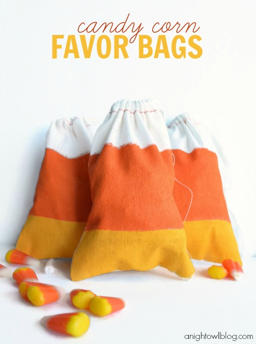 Fold the bag in half with the right sides facing you and match up the color strips. Halloween Candy Corn Favor Bags See Vanessa Craft