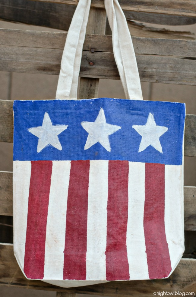 Red White & Blue Painted Tote Bag