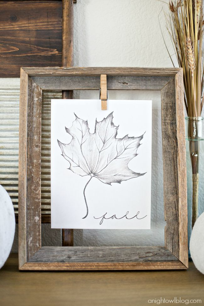 Download and print this Free Fall Printable for instant rustic fall decor! | A Night Owl Blog