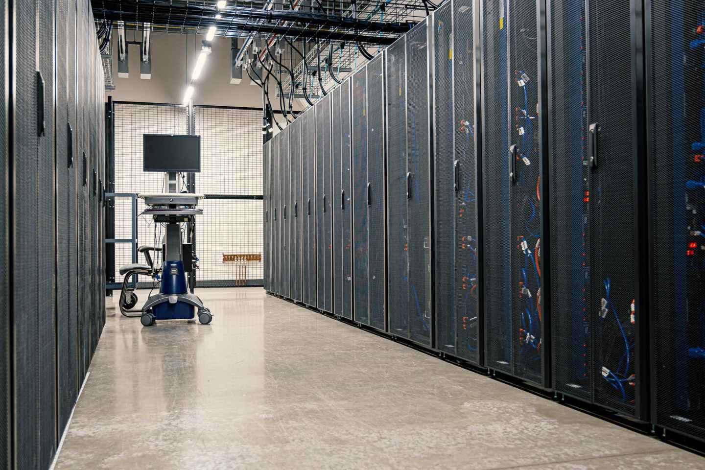 server racks in modern data center