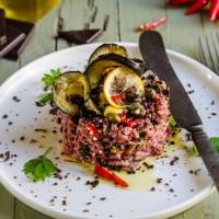 Il peccato originale del vegetariano : Tartara di manzo con melanzane fritte, peperoncini e cioccolato amaro