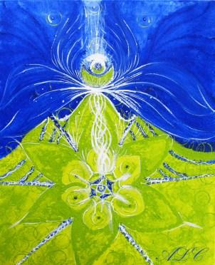 Oliwkowy kwiat serca i królewski błękit