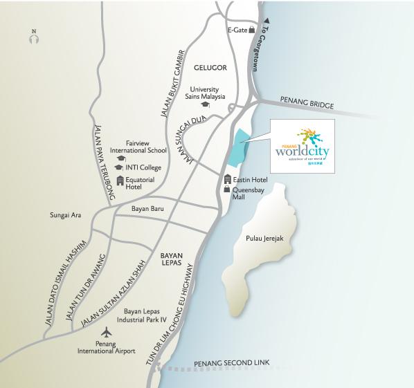 penang world city location map