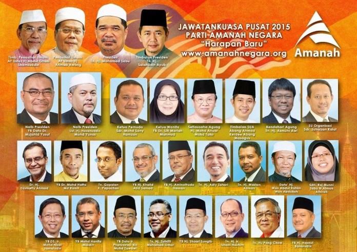 Inaugural office bearers of Parti Amanah Negara