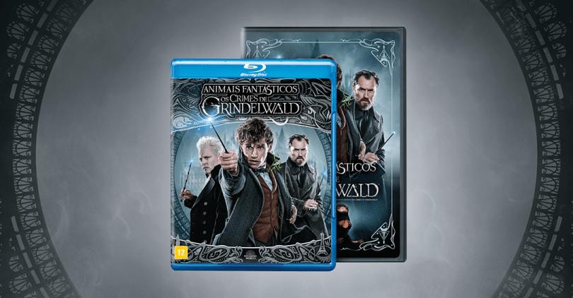 Imagem ilustrativa com o Blu-ray e DVD de Crimes de Grindelwald. A descrição das capas está no post.