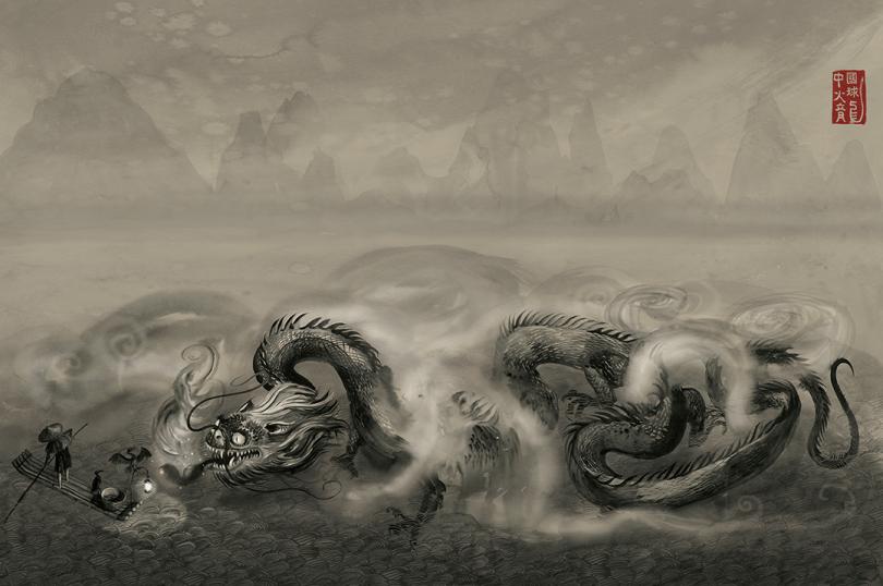 Um dragão chinês emerge de um lado e ataca uma canoa de pescadores. No topo direito, há símbolos chineses.