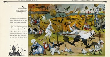 Cenas da final da copa do mundo de quadribol de 1475. Há vários morcegos e parece uma situação caótica.