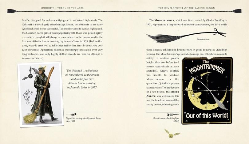 Páginas com trÊs ilustrações: ao lado esquerdo, retrato autografado de uma bruxa chamada Jocunda Sykes, de 1935. Do outro lado, imagens da moontrimmer, tipo de vassoura.