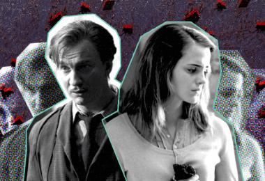 Montagem com duas fotos: uma de Lupin, no filme Prisioneiro de Azkaban, e outra de Hermione, em Relíquias da Morte: parte 1.
