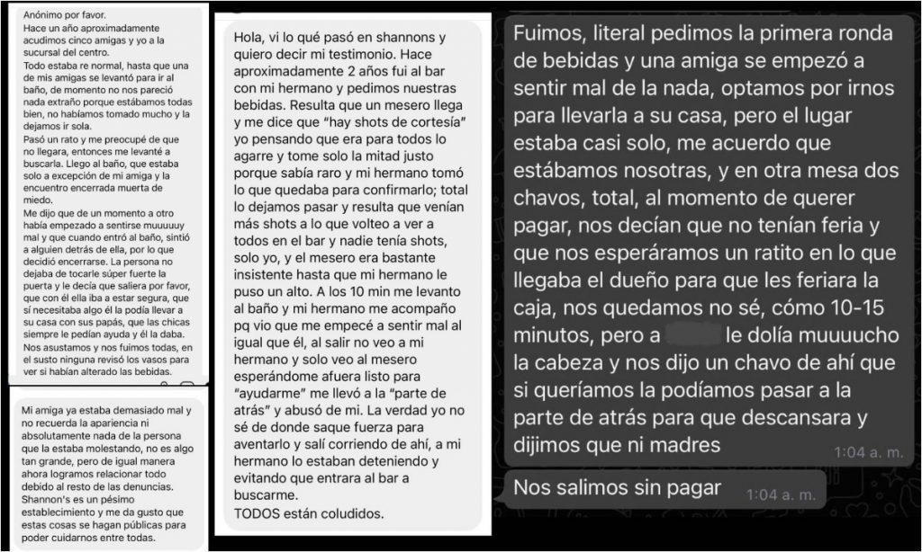 Algunas denuncias publicadas por la colectiva feminista Resistencia Radical Zacatecas en su cuenta de IG. Fotos: @colectiva_rrz