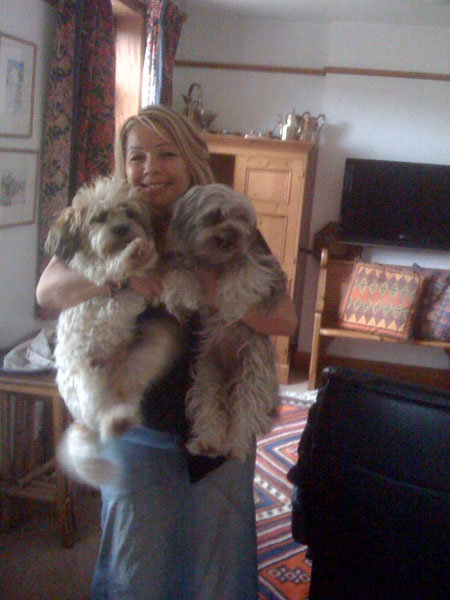 A completely delighted Amanda with her Bella and Buster