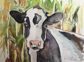 """Cows in the Corn 2"" watercolor on paper, 9"" x 12"", $100"