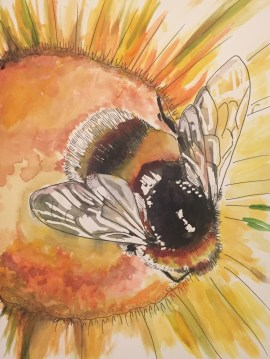 """Bee Cause"" Watercolor on Paper, 9"" x 12"" 2016, $100"