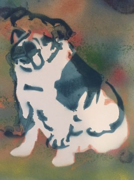 Bulldog Pride 6; Spray paint on paper, 9 x 12, $20