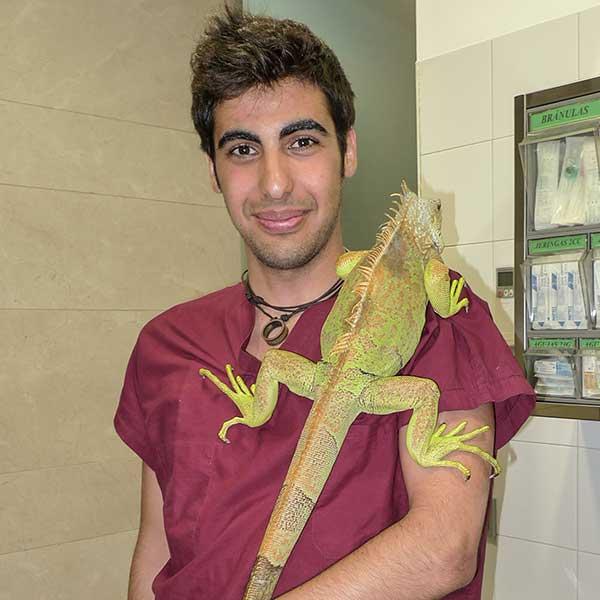 Veterinario con iguana al hombro