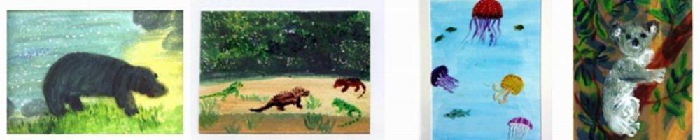 Hippo, iguanas, Jelly fish and Koala Animal Alphabet paintings