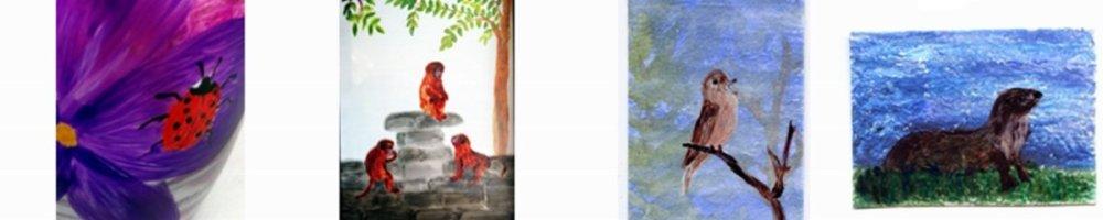 Ladybirds, Monkeys, Nightingale, Otter paintings