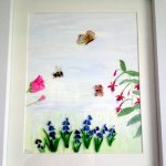 Bee Butterfly painting with flowers