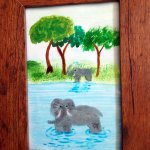 Elephant painting mixed media
