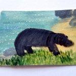 Hippopotamus Miniature Painting