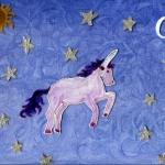 Painting with a Unicorn in the sky with silver stars, a sun and moon
