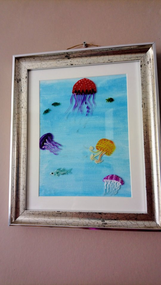 Jellyfish glass painting with a blue acrylic background