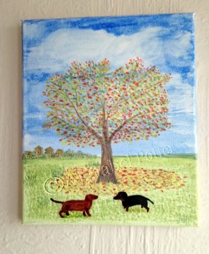 Watercolour and Glass Painting on canvas with Daschund Dogs below an Autumn Tree