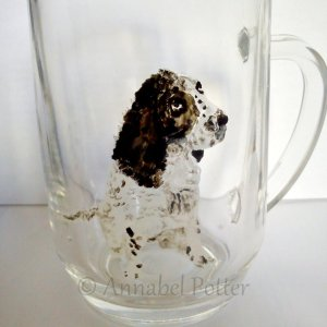Springer pet portrait on a wine glass