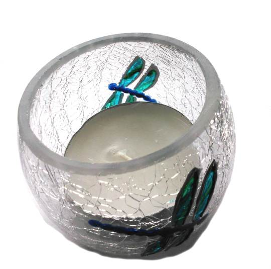 Crackle tealight holder with turquoise dragonfly
