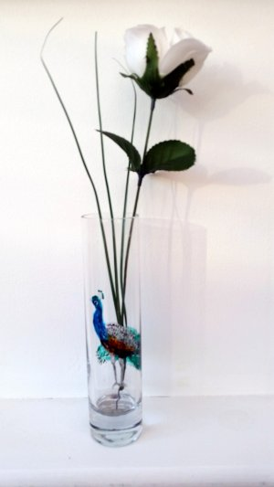 Peacock bud vase glass painting with a Rose