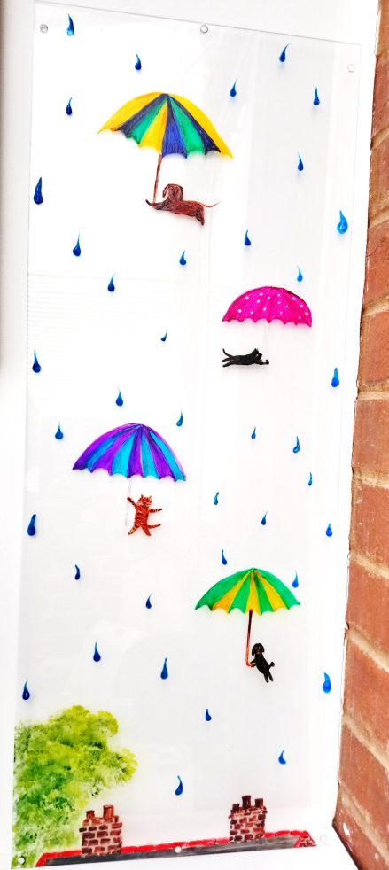 Raining cats dogs glass painting with colourful umbrellas and raindrops