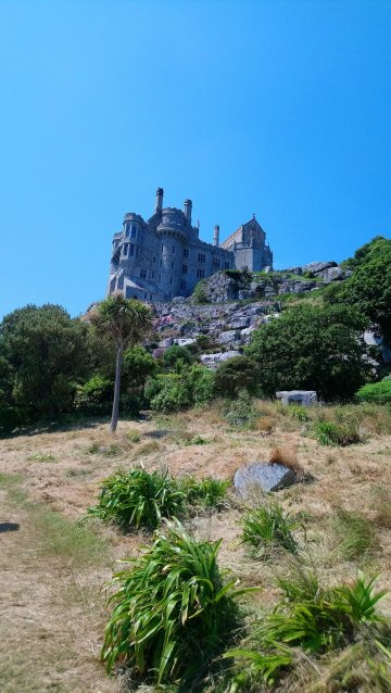 Looking up at St.Michael's Mount castle from the lower grounds