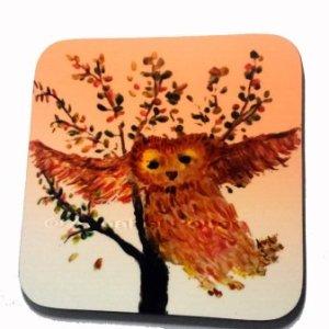 Owl coaster with an Autumn tree illustration